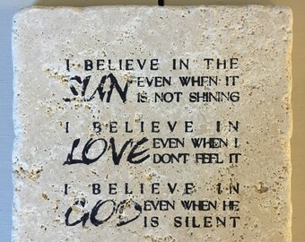 "Inspirational quote ""I believe..."" stone coaster set"