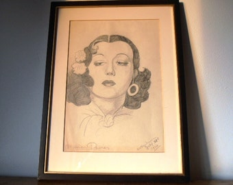 Vintage graphite pencil sketch of Marion Davies. Inspired by the poster for the 1934 movie 'Operator 13'. Film/cinema/movie memorabilia OOAK