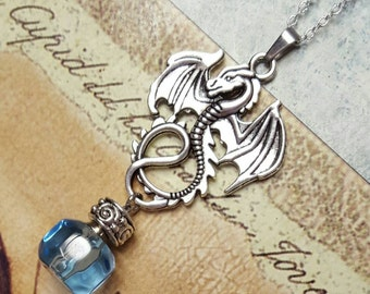 Dragon Pendant with Fillable Crystal | Keepsake Necklace | Dragon Urn Necklace | Dragon Urn Pendant | Urn Jewelry | Cremation Jewelry