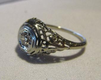 sz 5.5 Lovely Edwardian Diamond Ring White Gold European Diamond Antique Art Deco Wedding Rings Victorian Edwardian Wedding Ring Engagement