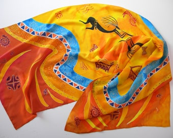 Orange scarf Hand painted silk shawl Batik African motifs Birthday gift for mom from daughter 30th Summer scarf Inspirational women gift