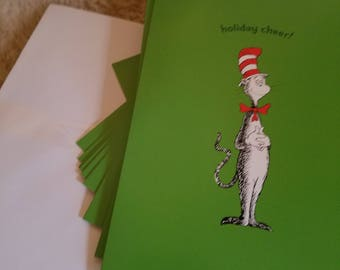 Full box of cat in the hat holiday cards 12 cards mib