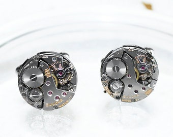 BULOVA Steampunk Cufflinks - Silver Vintage Watch Movement Men Steampunk Cufflinks / Watch Cuff Links - Wedding Fathers Day Gift for Him
