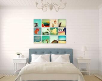photography set // beach art decor // canvas art set // - set of twelve canvas beach art prints