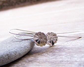 Daisy Drop Dangle Earrings, Daisy Earrings, Sterling Silver Daisies