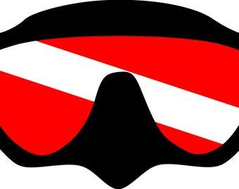 Scuba Diving: Dive Mask w/Flag  SVG File!