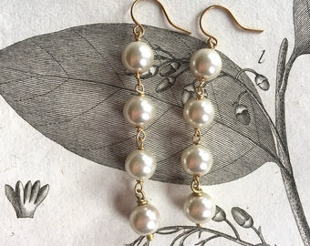 Pearl and Gold Long Earrings