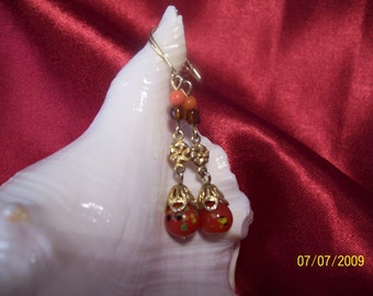 Vintage Orange Glass Beaded Earrings