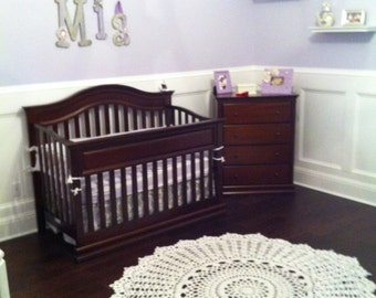 Giant Doily Rug Baby Nursery Rug 60 Inch White or Natural Unisex Boy or Girl Crochet Rug Outdoor Rug Heirloom Gift for Baby Room