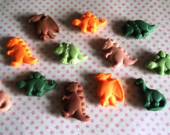 12 Edible Fondant Dinosaurs - Browns, greens and orange - Cupcake Toppers