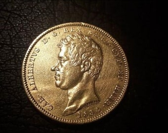 1834 gold Sardinia 100 Lire Carlo Alberto coin perfect