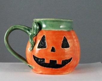 Wheel Thrown Handmade Pumpkin Mug; Fall Inspired Mug; Customization Available