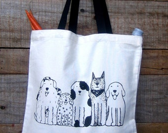 Dogs in a Row Market Tote with Black Handles