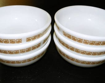 Tiburon Pyrex Restaurant Ware 4 7/8 Inch Cereal Bowls, Set of 4 (12 Available)