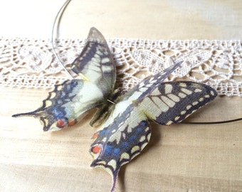 Flying - Handmade Necklace with Swallowtail Pale Yellow Butterflies in Cotton and Silk Organza Fabric