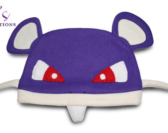 Pokemon - Rattata Hat / Fleece Hat / Winter Hat / Pokemon Fleece Hat / Pokemon Hat / Video Game Characters
