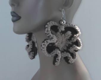 Dark Brown and Tan Flower Crocheted Earrings, Women's Earrings, Large Earrings, Big Earrings, Flower Earrings, Flower Earrings
