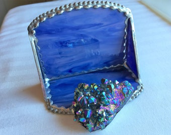 Stained Glass Business Card Holder Office Desk Titanium Plated Quartz Crystal Cluster Blue/Mauve Glass SilverTrim Handcrafted Made in USA