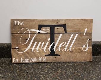 Custom Name Sign, Last Name  Sign, Pallet Wood Sign, Wedding Gift , Family Name Sign, Rustic Sign, Established Date Sign