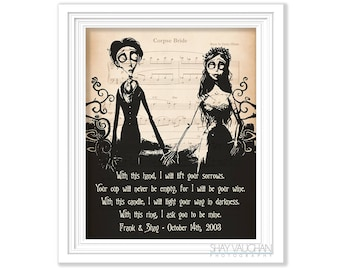 """Corpse Bride Print Personalized With Names And Date Corpse Bride Art """"With this hand"""" Quote Tim Burton Wedding Decor Wedding Gift Engagement"""