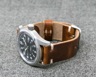 Leather Watch Band | The Hudson Strap | Horween Chestnut Dublin Leather Strap - Handmade