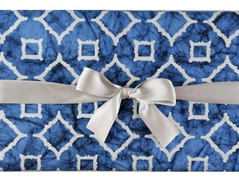 Luxury Cotton Gift Wrap Moroccan Blue (Set of 2 rolls)