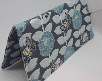 Pale Teal Butterfly Fabric Print Checkbook Cover Coupon Holder Clutch Purse Billfold Ready Made
