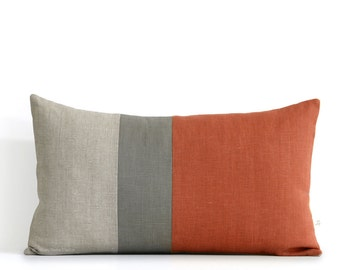 Sienna Lumbar Pillow - 12x20 - Mod Autumn Colorblock Pillow Covers by JillianReneDecor, Modern Home Decor, Fall Decorative Pillows FW2015