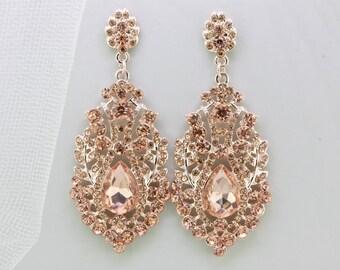 Bridal Blush Earrings,Rosegold Chandelier Dangle Earrings,Crystal Peach Earrings,Bridesmaid Wedding Earrings Gift Jewelry,Rose Gold Earrings