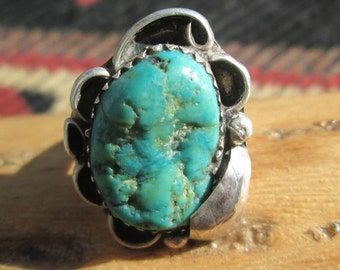 Vintage Turquoise Nugget and Sterling Silver Ring Size 5.5
