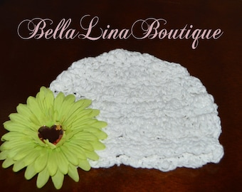 Seaside Scallop Baby Girl White Crocheted Beanie with Detachable Lime Daisy Flower Clip - Size 3-6 mos. - Ready to Ship