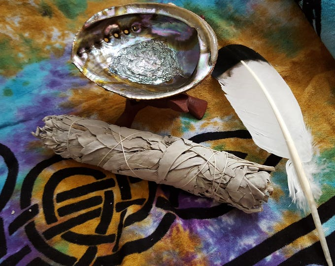 Large White Sage Smudging Kit ~  White Sage (Salvia Apiana) Bundle 8 ~ 9 inches, 5~6 inch abalone shell with 6 inch tripod stand, feather