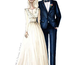 Personalized Wedding Illustration, Custom Bridal Illustration
