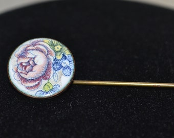 Vintage Pin Brooch Purple Flower Enamel Hat Pin