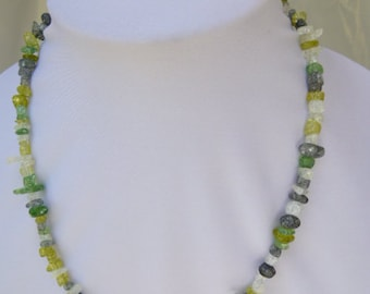 Mixture of Unusual Sparkling Green & White Beads Necklace