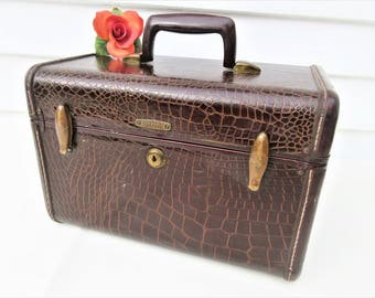 Vintage Samsonite Train Case | Traincase Makeup | Faux Alligator Suitcase | Hard Sided Luggage | Brown Faux Leather | 1950s Luggage