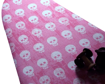 Ironing Board Cover custom sizes including brabantia, more ELASTIC around edges pick your size  rockabilly white skulls on hot pink