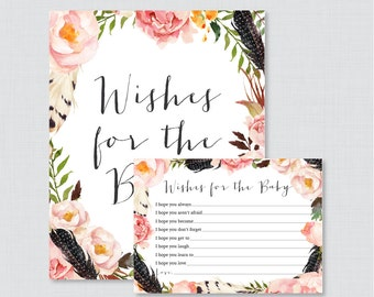 Boho Wishes for Baby Baby Shower Activity - Printable Well Wishes for Baby Cards and Sign - Instant Download- Bohemian Feathers Flowers 0049