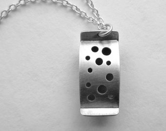On Sale Holes in Silver Pendant oxidized sterling modern handfabricated