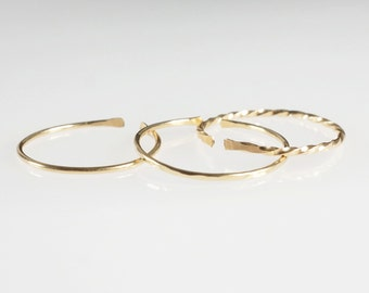 3 Gold Rings, Thin Gold Band, Dainty Gold filled rings, Minimalist Jewellery, Dainty Ring, Stacking Ring Set, Hammered band, Australia shop