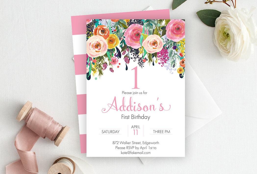 Floral First Birthday Invitation, Floral Invitation, Floral Birthday ...