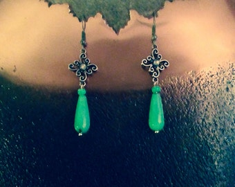 Antique silver and green glass bead earrings
