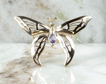 14K Yellow Gold 1.0ct Synthetic Alexandrite & Diamond Accent Butterfly Brooch