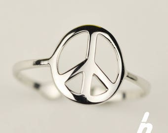 Peace sign sterling silver ring / Adjustable Peace sign ring / Open Peace sign ring /SIMPLE RING (R003)