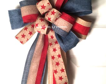 Patriotic Wreath Bow, Patriotic Wired Ribbon, 4th Of July Wreath Bow, Patriotic Bow, Red White And Blue Bow, Rustic Patriotic Bow