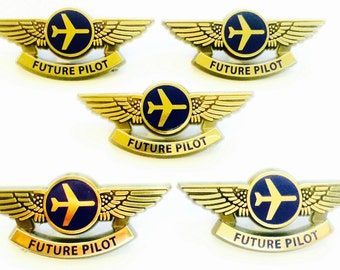 5 Kids Aviator Future Pilot Airplane Pilot Wing Pins Party Favors