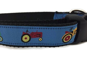 Dog Collar, Tractor, 1 inch wide, adjustable, quick release, metal buckle, chain, martingale, hybrid, nylon