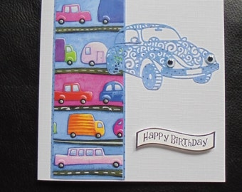 Car birthday card. Motor car card. Cute car card. Card for a motorist. Card for a driver. Motorist's birthday. Driver's birthday.