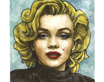 Art Print // MARILYN MONROE - Ink & Watercolor