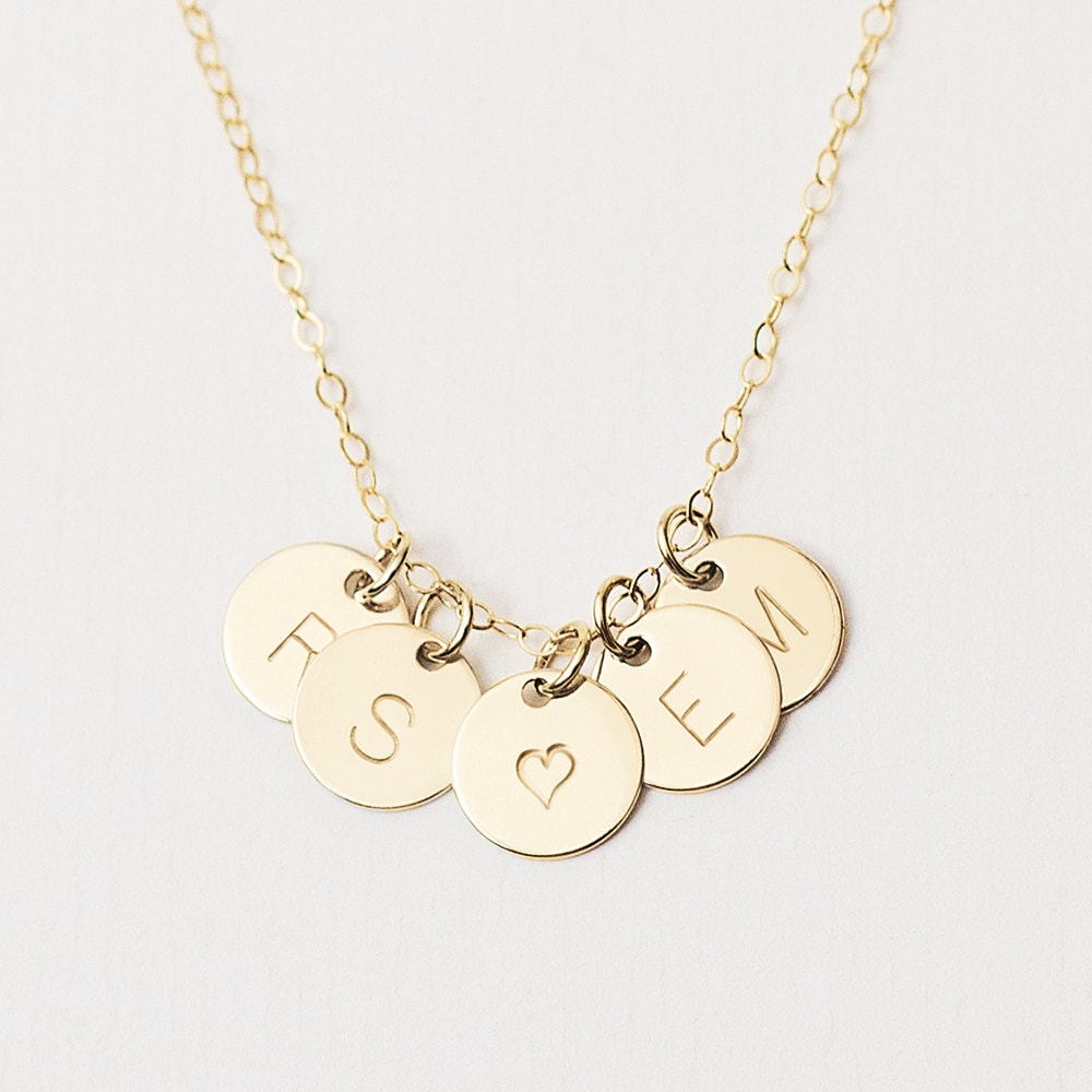 Delicate gold initial disc necklace multiple initial zoom mozeypictures Choice Image